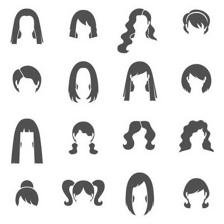 16款简约黑色风格的女性发型图片大全免抠素材