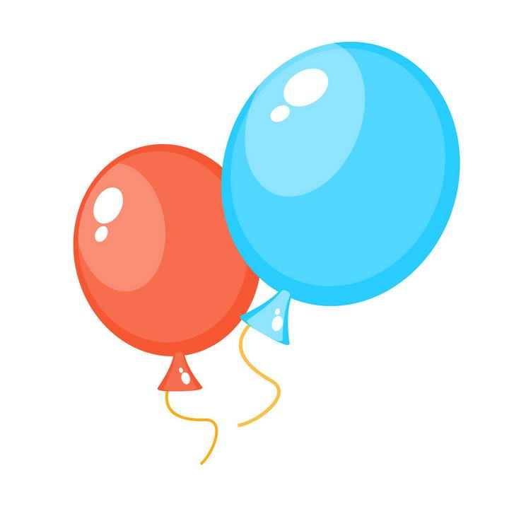 卡通风格红色和蓝色的气球图片免抠素材