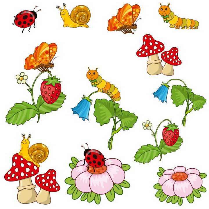 各种卡通风格蝴蝶瓢虫毛毛虫蘑菇等昆虫小动物图片免扣素材