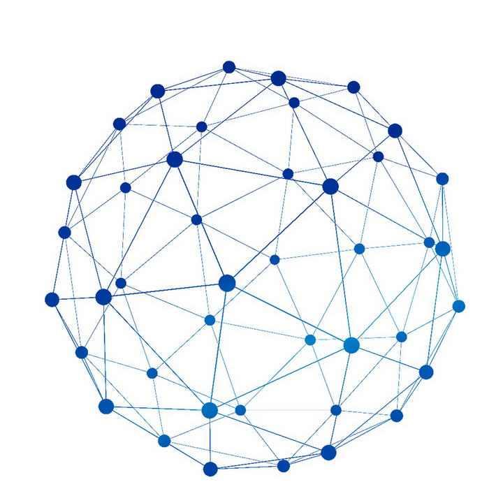 简约蓝色点线组成的圆球图案装饰图片免抠素材