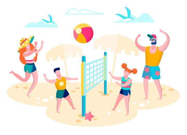扁平插画风格正在举行沙滩排球的一家四口夏日旅游图片免抠素材