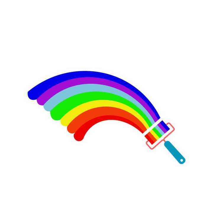 刷子刷出来的七彩虹图案图片免抠素材