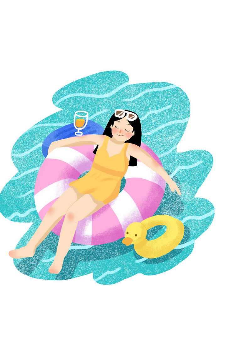 肌理插画风格夏日里躺在救生圈游泳圈中的女人图片免抠素材