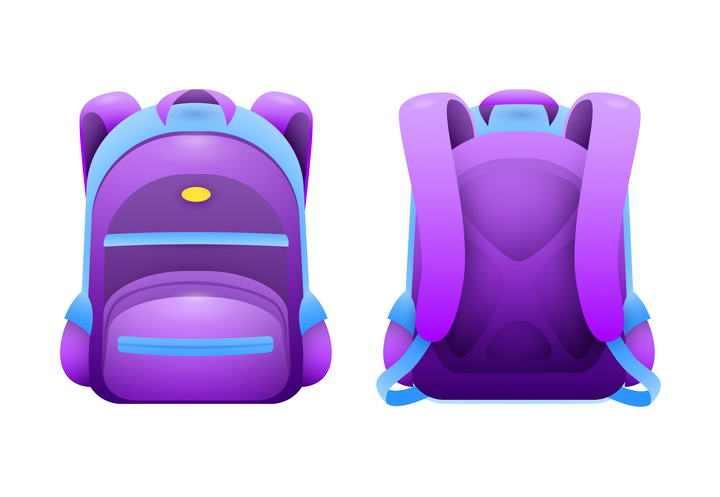 一款紫色的书包双肩包背包正反两面图片免扣素材