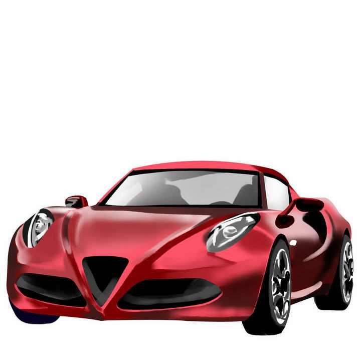 手绘风格红色超级跑车图片免抠素材