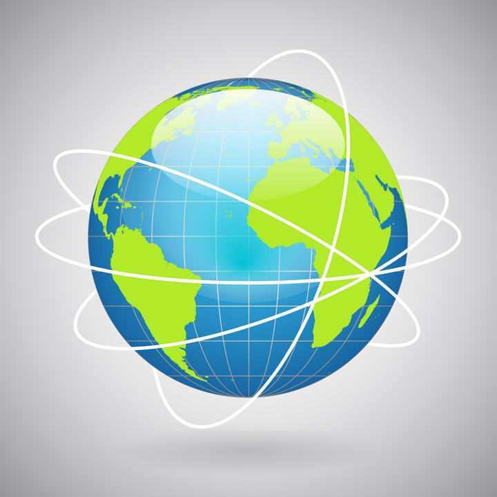 水晶风格带经纬线和卫星轨迹线的地球模型图片免扣素材