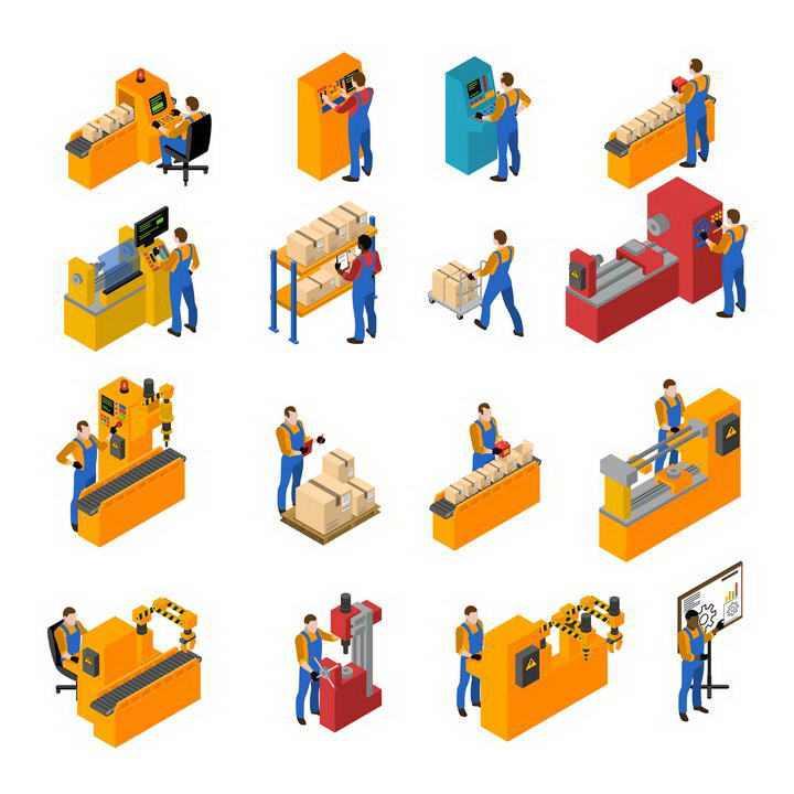 16款2.5D效果工厂里正在操作机器生产的工人劳动场景图片免扣素材
