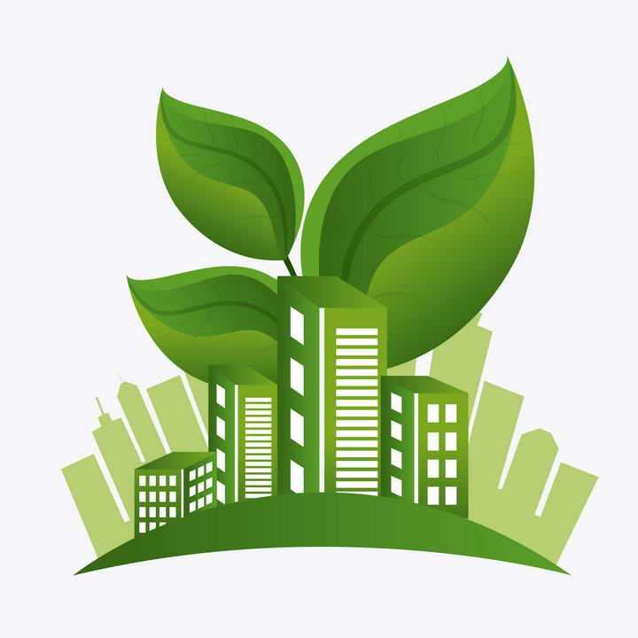 绿叶装饰的绿色城市建筑剪影生态城市图片免抠素材