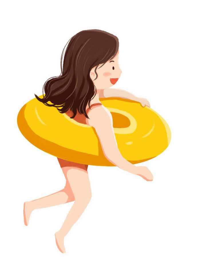 手绘卡通风格套着救生圈游泳圈的女孩图片免抠素材