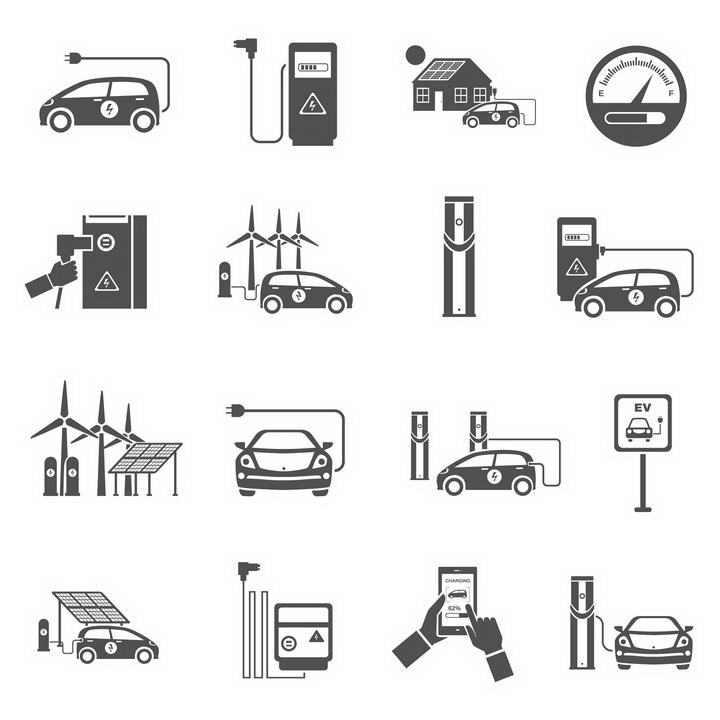 16款黑白风格的电动汽车新能源汽车图标图片免抠素材