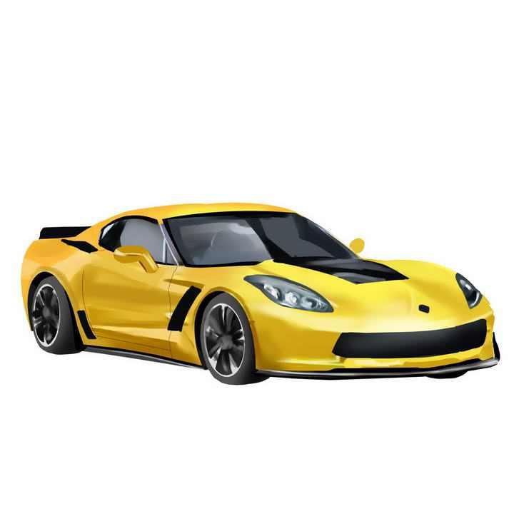 手绘风格黄色超级跑车图片免抠素材
