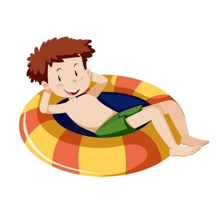 可爱卡通坐在游泳圈救生圈上的小男孩图片免抠素材