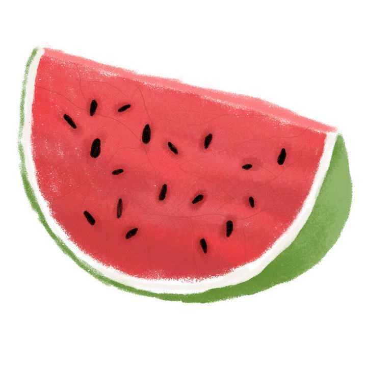 彩色手绘风格切开的西瓜水果