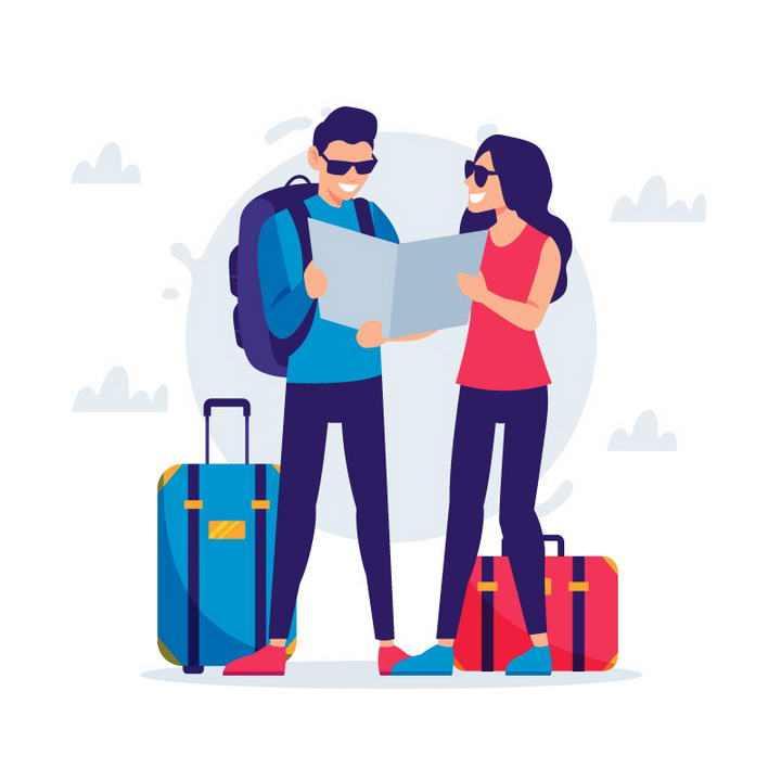 手绘扁平化风格看地图带着行李箱旅行的情侣年轻人图片免抠素材
