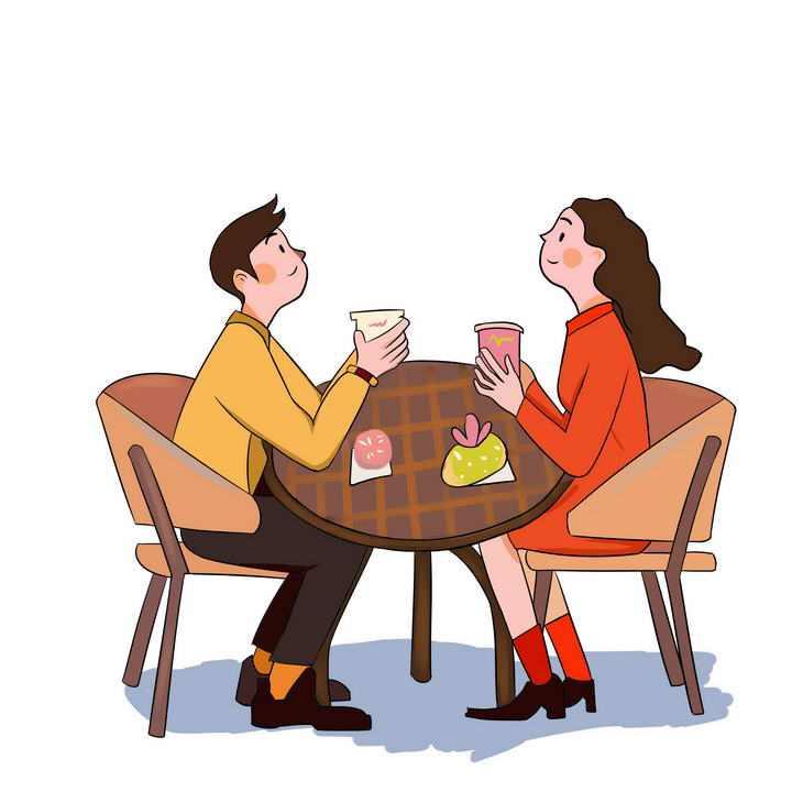 手绘插画风格正在喝咖啡聊天的情侣情人节图片免抠素材