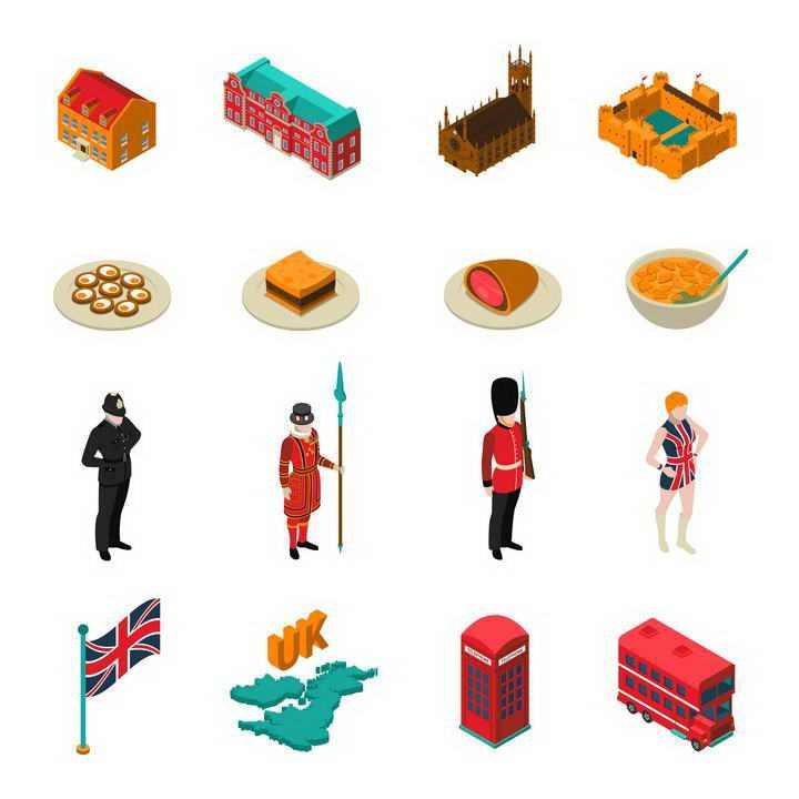16款2.5D风格地标建筑传统美食民族服饰等英国旅游图标图片免抠素材