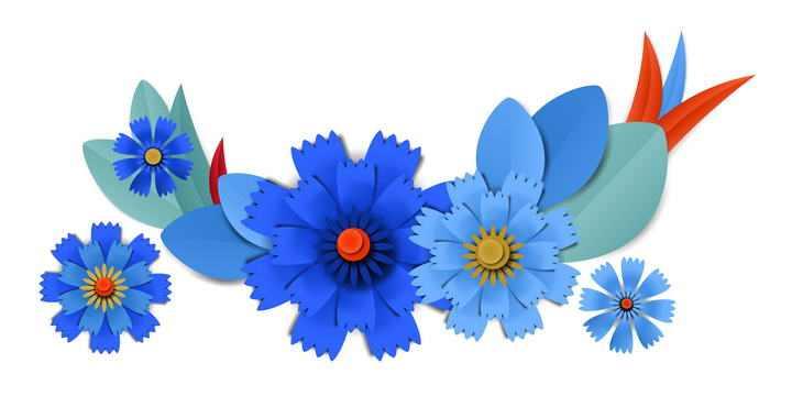 剪纸叠加风格蓝色的花朵装饰图片免抠素材