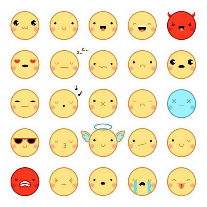 25款可爱的圆形表情包图片免扣矢量图素材