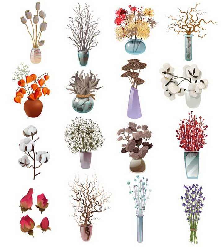 16款各种风格的干花插花艺术花艺图片免抠素材