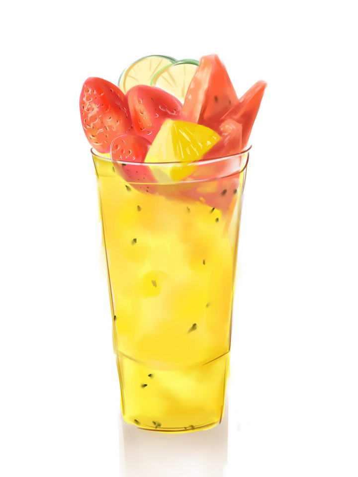 彩色手绘风格夏日冷饮西瓜汁菠萝汁混合果汁图片免抠素材