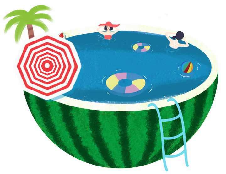 抽象风格夏天在西瓜游泳池中游泳的人群图片免抠素材