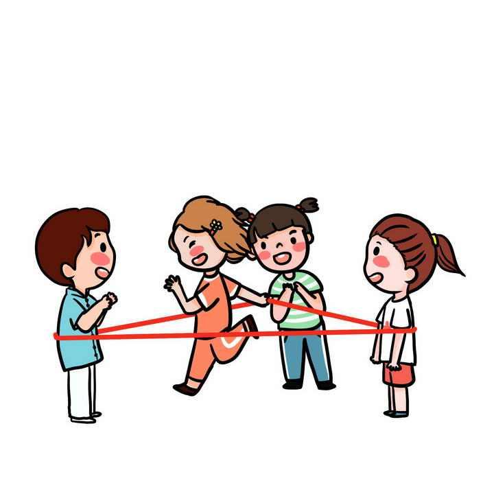 手绘卡通风格正在玩跳橡皮筋的孩子儿童游戏童年回忆图片免抠素材