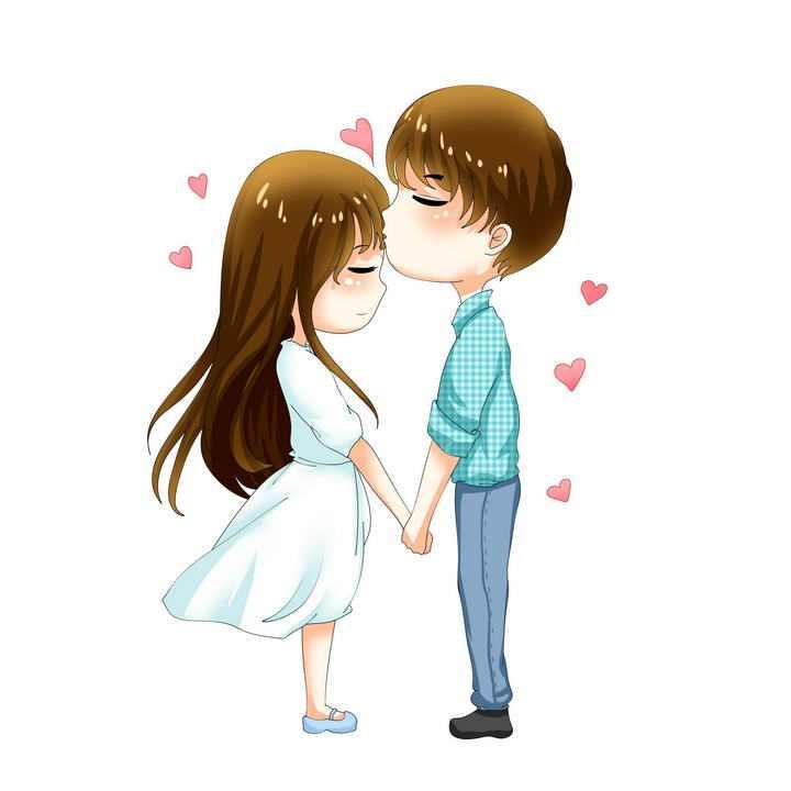 手绘卡通漫画风格亲吻女孩额头的男孩情侣情人节图片免抠素材