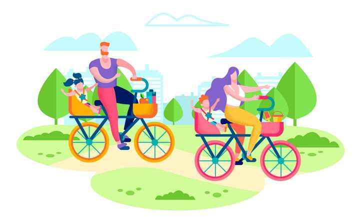 扁平插画风格骑自行车的一家四口郊游旅游图片免抠素材