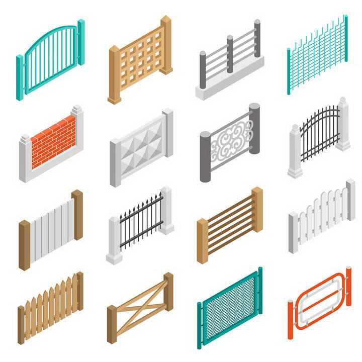16款2.5D各种不同风格的围墙栅栏隔离带图片免抠素材