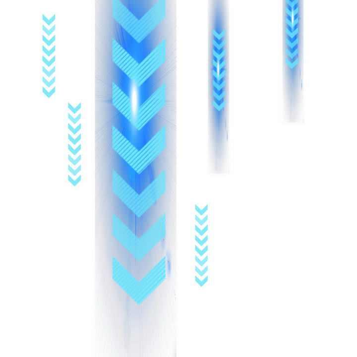 蓝色科技风格发光箭头装饰图片免抠素材
