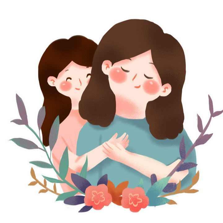 卡通手绘插画风格女儿拥抱妈妈母亲节图片免抠素材