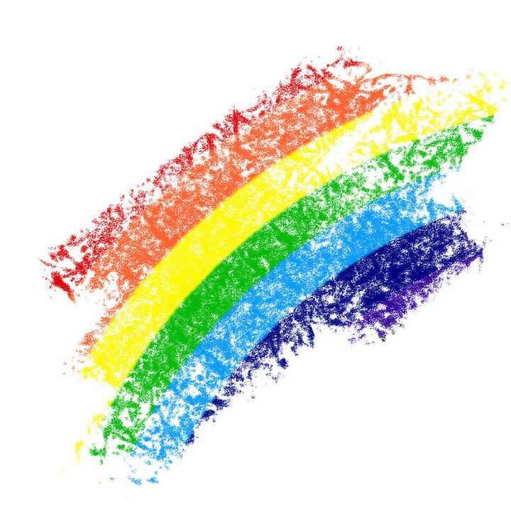 手绘涂鸦风格斑驳的七彩虹图案图片免抠素材