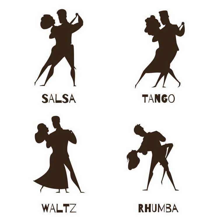 四款正在跳拉丁舞恰恰舞的舞伴剪影图片免扣素材