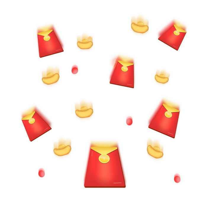 高速飞行中的红包金元宝装饰图片免抠素材