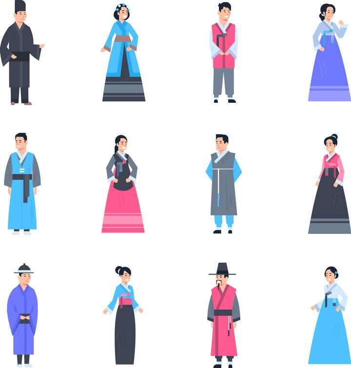 12款朝鲜族韩国民族服饰图片免抠素材