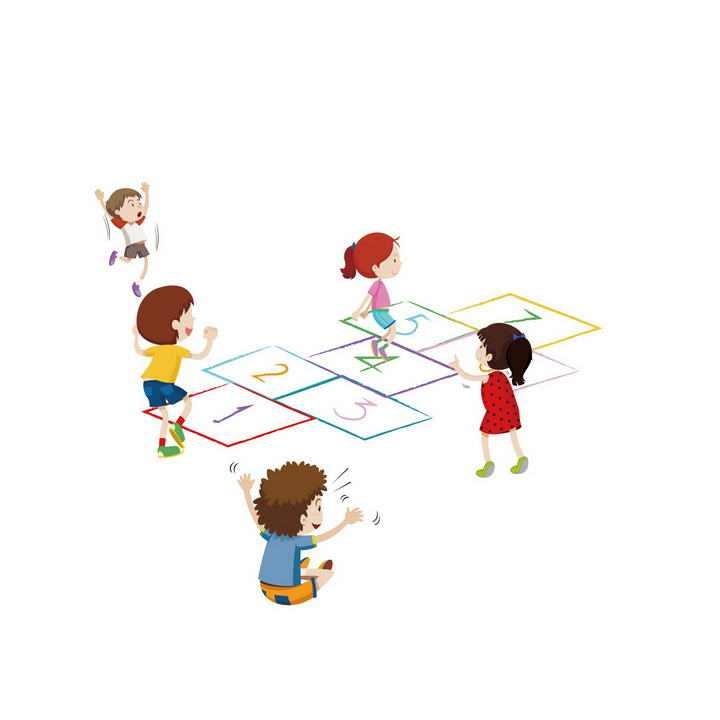 手绘卡通风格一群正在玩跳格格游戏的小朋友儿童节素材