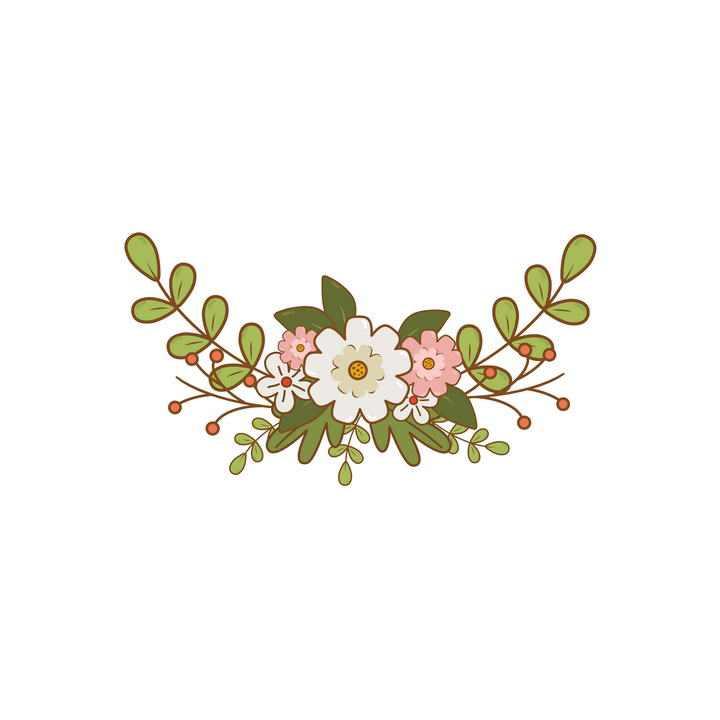 小清新风格的小花绿叶装饰图片免抠素材