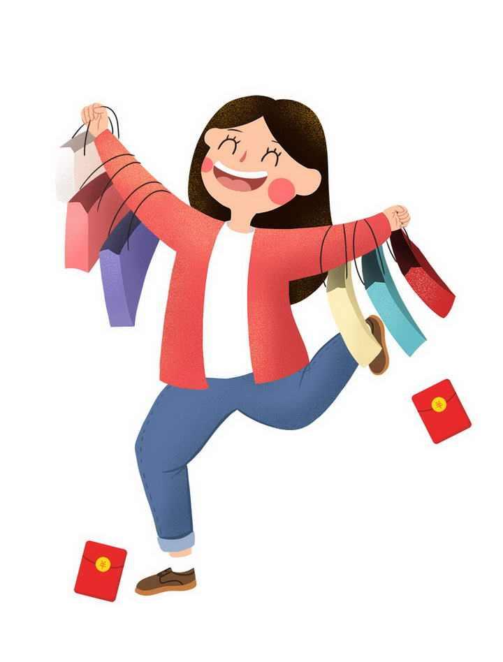 卡通肌理插画风格开心购物的女人图片免抠素材