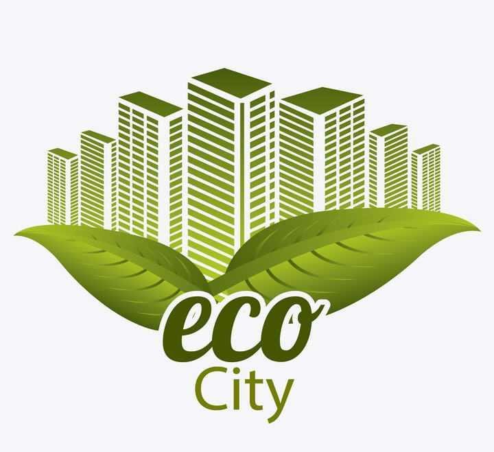 绿叶装饰的生态城市节能环保图片免抠素材
