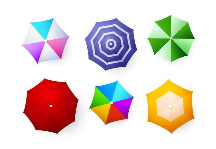 6款俯视视角彩色遮阳伞雨伞图案图片免抠素材