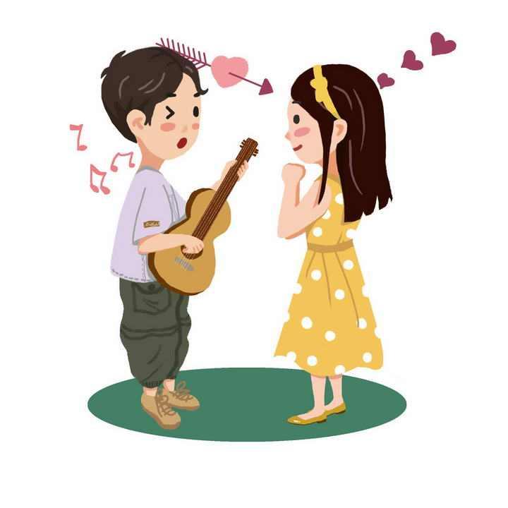 手绘卡通风格为女孩子弹吉他的男孩情侣情人节图片免抠素材