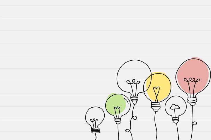 手绘涂鸦孟菲斯风格线条灯泡装饰图片免抠素材