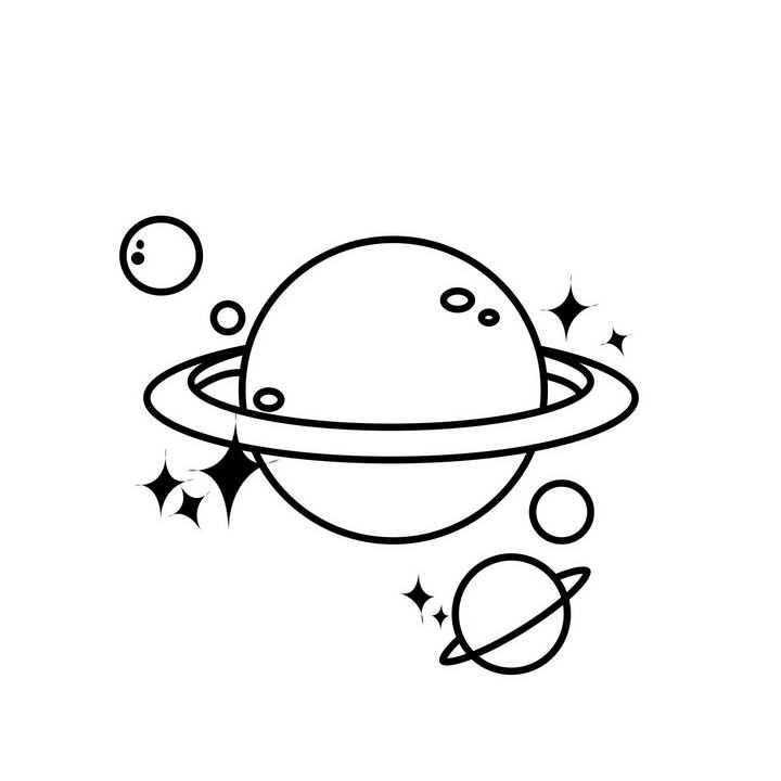 手绘线条素描风格星球简笔画图片免抠素材