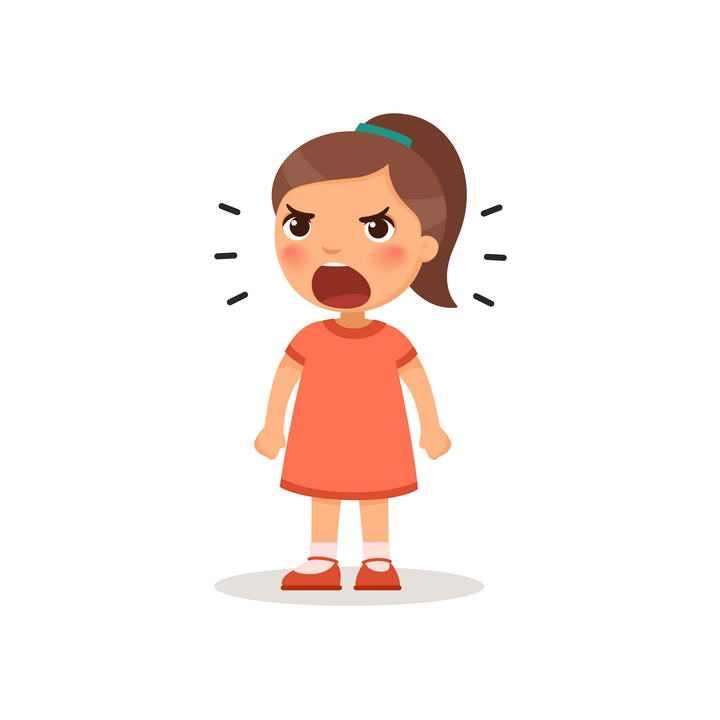 卡通可爱风格的正在大声叫喊的小女孩儿童节图片免抠素材