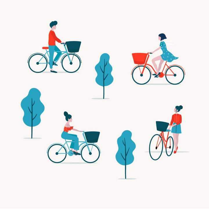 扁平化插画风格四款骑自行车的男孩和女孩图片免抠素材