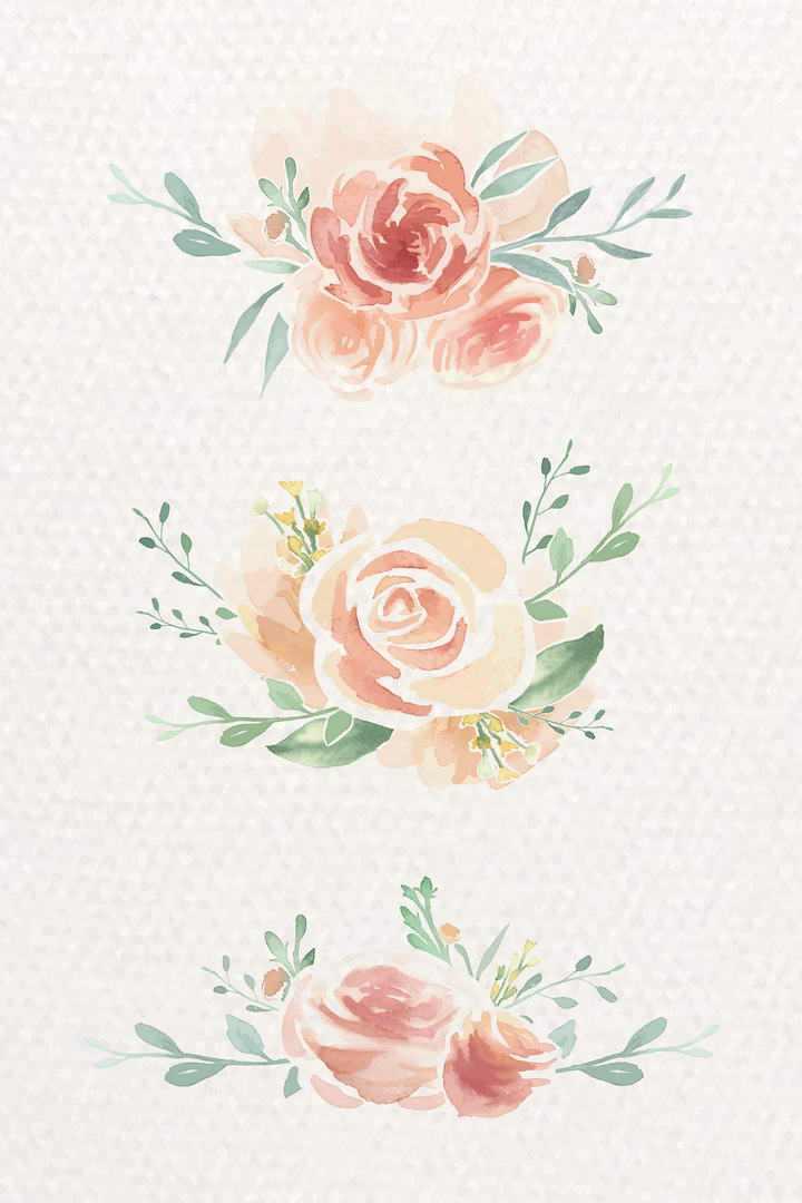 三款手绘水彩画风格素雅红色花朵绿叶花卉装饰图片免扣素材