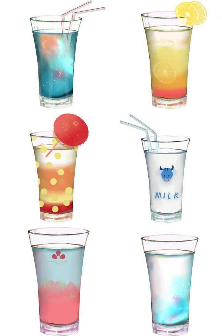 六杯夏日饮品果汁牛奶饮料图片免扣素材
