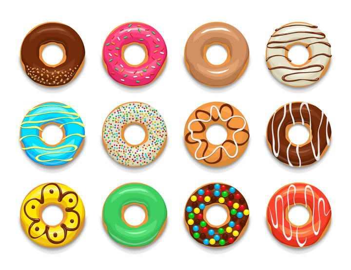 12款彩色甜甜圈西餐美食图片免抠素材