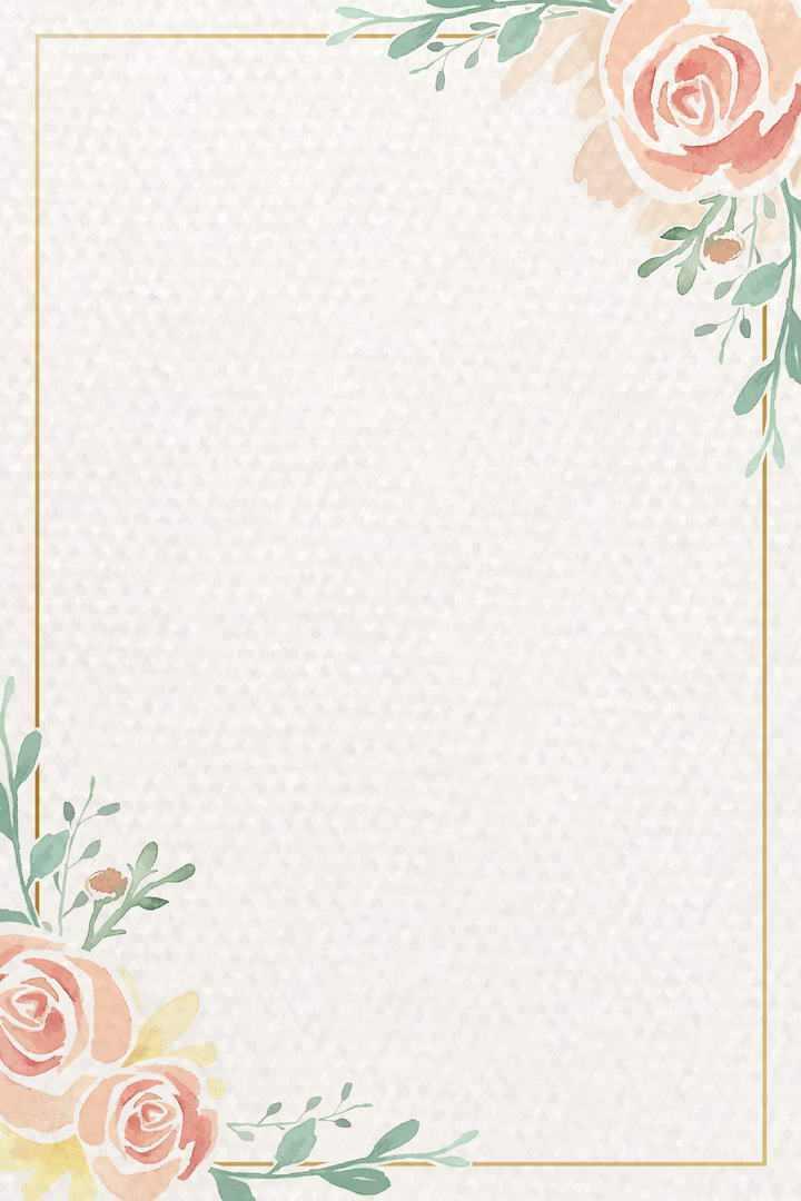 水彩画风格红色花卉绿叶装饰的竖版长方形边框文本框图片免抠素材