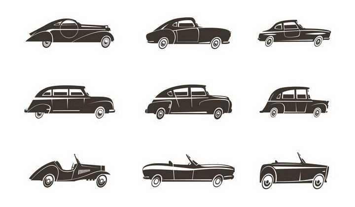 9款黑白色的老爷车汽车侧影图片免抠素材